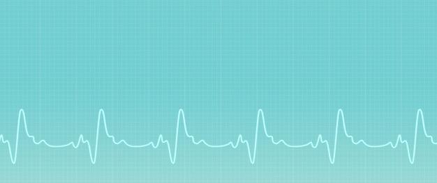 Sites médicos com espaço de cópia. banner de cuidados de saúde. fundo verde com linha ecg. ilustração da atividade das ondas de ecg. banner de saúde