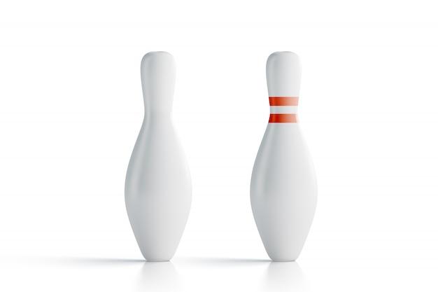 Skittles de boliche branco em branco, vista frontal