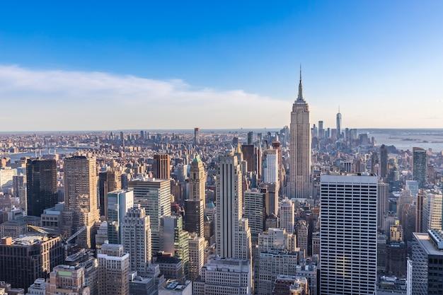 Skyline cidade nova iorque, com, edifício estado império, manhattan, eua