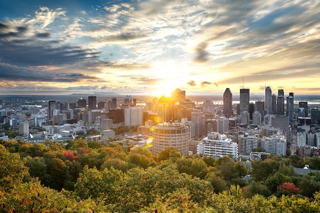 Skyline de montreal do mont royal