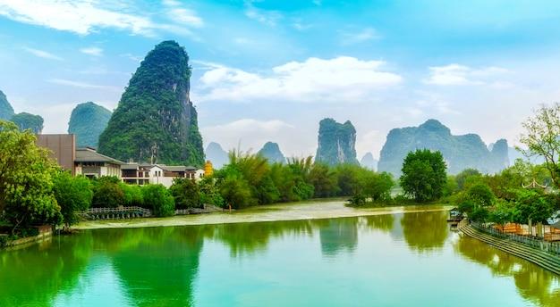 Skyline, névoa, bambu, paisagem, rural, amanhecer