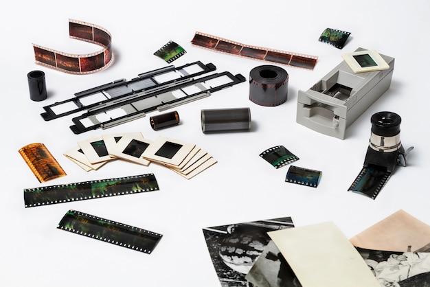 Slides coloridos e negativos após a digitalização