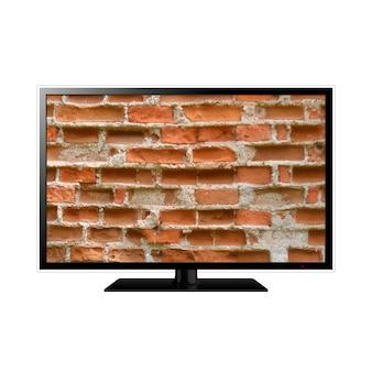 Smart tv com parede de tijolos na tela