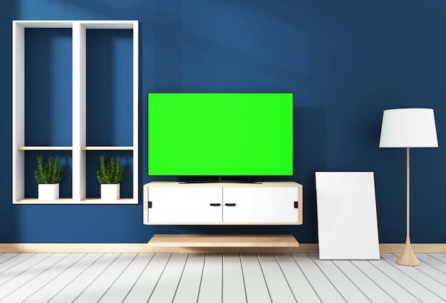 Smart tv com tela verde em branco pendurado no design do armário. renderização em 3d