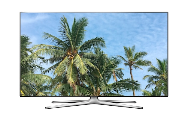 Smart tv isolada com palmeiras contra a imagem do céu azul