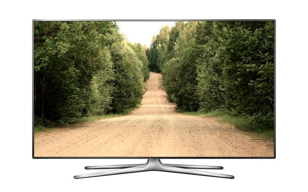 Smart tv isolada com uma estrada de terra na tela