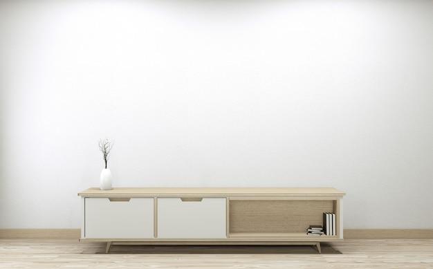 Smart tv levou no design do armário, parede branca sala mínima. renderização em 3d