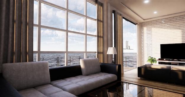 Smart tv mockup com tela preta em branco pendurado na decoração do armário, estilo zen moderna sala de estar. renderização em 3d