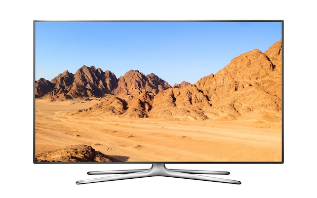 Smart tv moderna com paisagem montanhosa na tela
