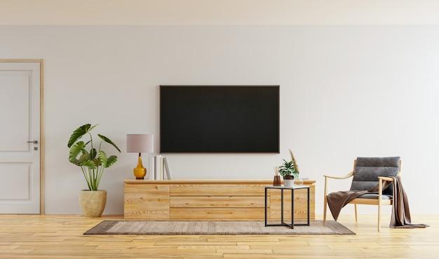 Smart tv na parede branca da sala de estar com poltrona, design minimalista, renderização em 3d