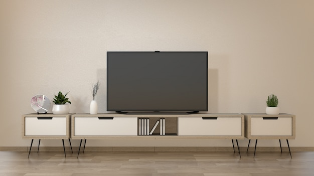 Smart tv na sala de estar zen com estilo minimalista de decoração. renderização em 3d