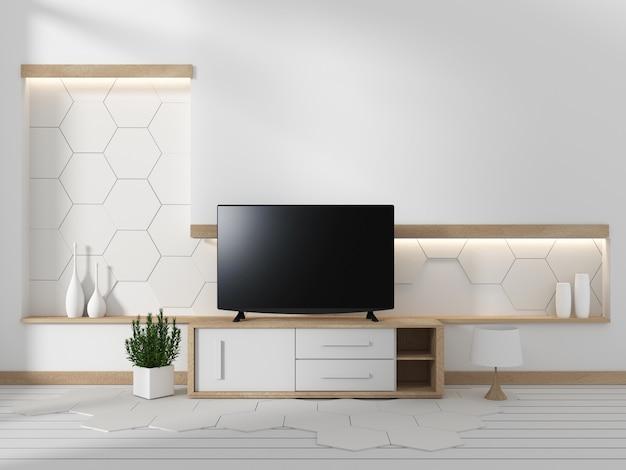 Smart tv no armário na sala de estar com plantas no fundo da parede de design hexagonal, 3d