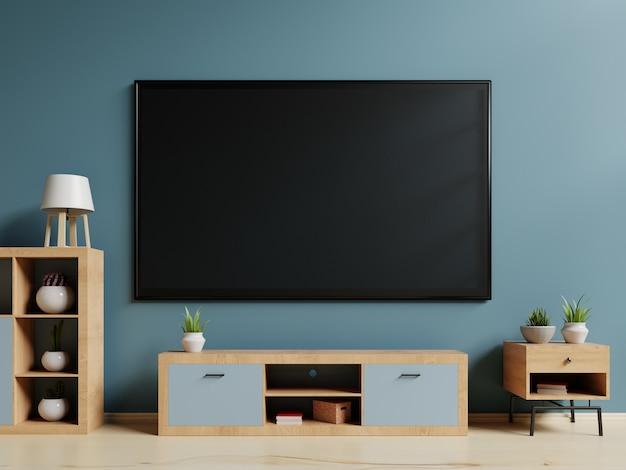 Smart tv no carrinho e parede de fundo azul. renderização em 3d