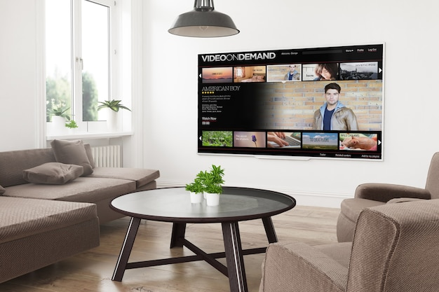 Smart tv panorâmica moderna em uma sala de estar com renderização em 3d com vídeo sob demanda na tela