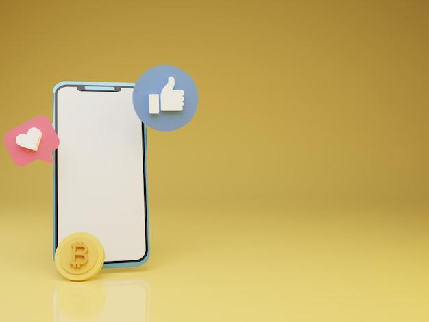 Smartphone 3d com amor flutuante e bitcoin na frente