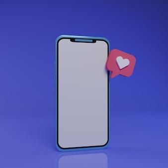 Smartphone 3d com amor flutuante em fundo azul