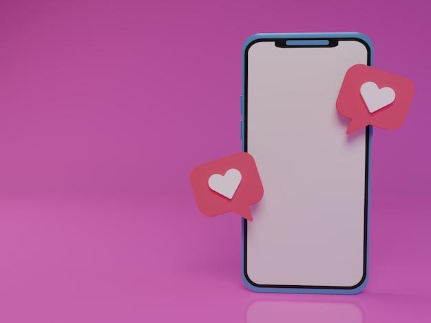Smartphone 3d com bate-papo amoroso flutuante em fundo rosa