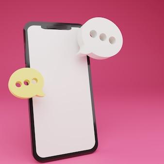 Smartphone 3d com bate-papo de duas bolhas flutuantes em fundo rosa