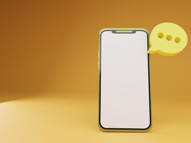 Smartphone 3d com bate-papo flutuante em fundo laranja