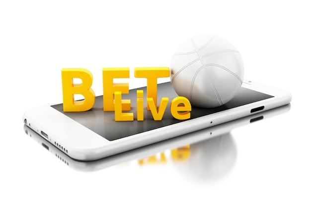 Smartphone 3d com bola de basquete e aposta ao vivo. conceito de apostas.