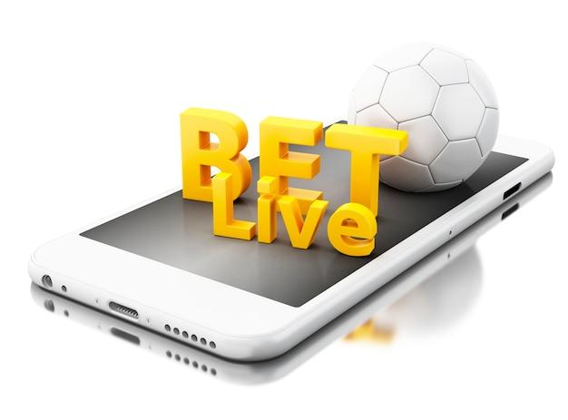 Smartphone 3d com bola de futebol e aposta ao vivo. conceito de apostas.