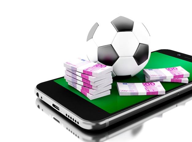 Smartphone 3d com bola de futebol e dinheiro.