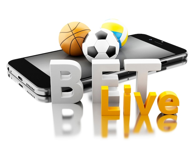 Smartphone 3d com bolas do esporte e aposta viva. conceito de apostas.