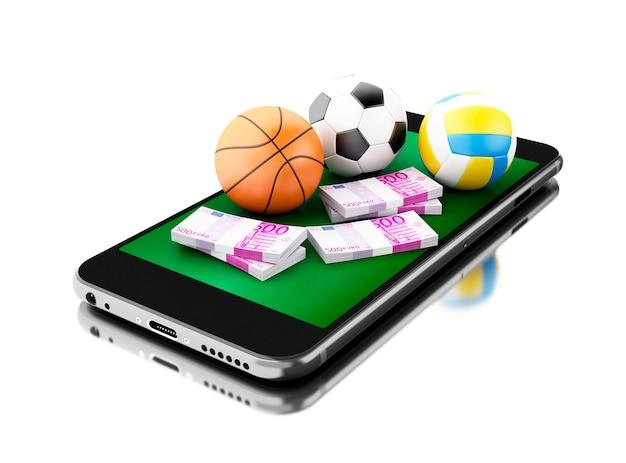 Smartphone 3d com bolas e dinheiro do esporte.