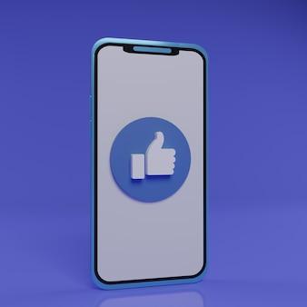 Smartphone 3d com botão like no meio da tela