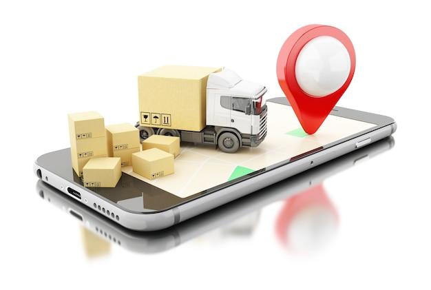 Smartphone 3d com caixas de papelão. conceito de transporte de entrega.