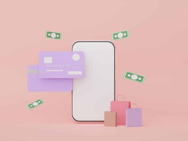 Smartphone 3d com cartões de crédito conceitos de dinheiro planejamento financeiro franquias de gestão de patrimônio
