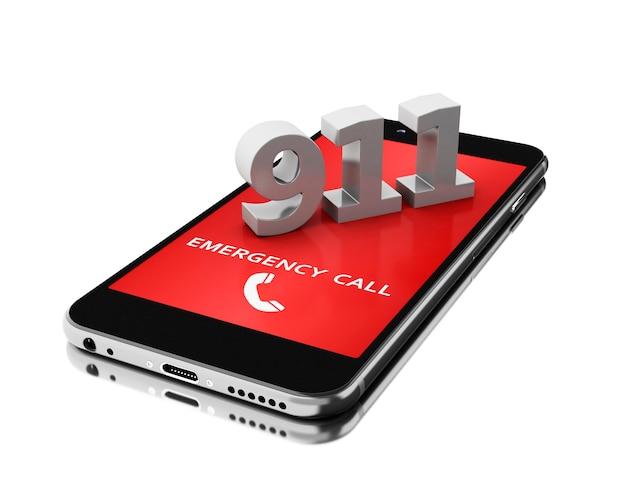 Smartphone 3d com chamada de emergência.