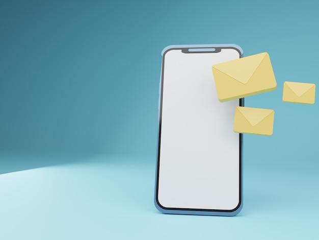 Smartphone 3d com correio flutuante em fundo azul