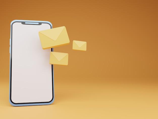 Smartphone 3d com correio flutuante em fundo laranja