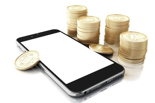Smartphone 3d com dinheiro bitcoin.