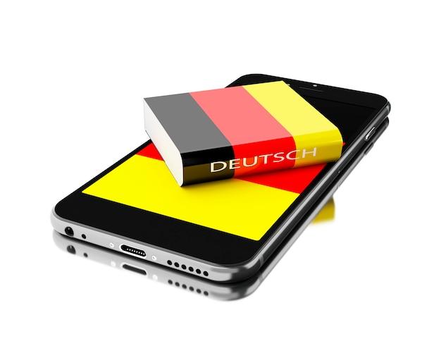 Smartphone 3d com livro de alemanha. aprendendo idiomas.