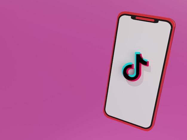 Smartphone 3d com logotipo tiktok no centro da tela e fundo rosa