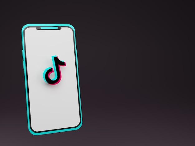 Smartphone 3d com logotipo tiktok no centro da tela