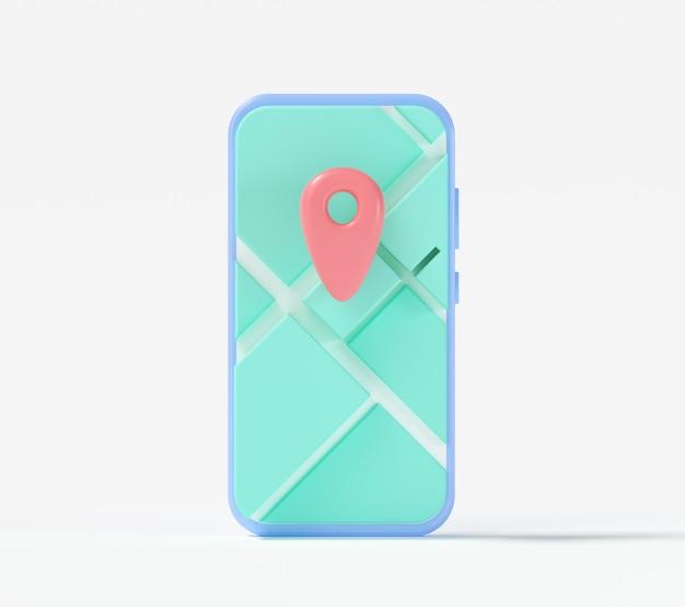 Smartphone 3d com mapa gps. localização do aplicativo online, serviço de entrega. ilustração 3d render