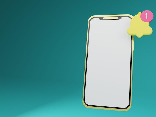 Smartphone 3d com notificação flutuante em fundo azul