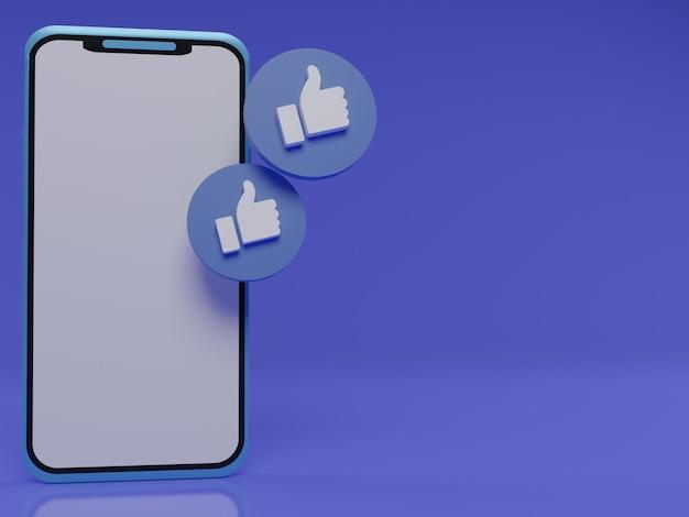 Smartphone 3d com polegares flutuantes para cima como símbolo de gostos