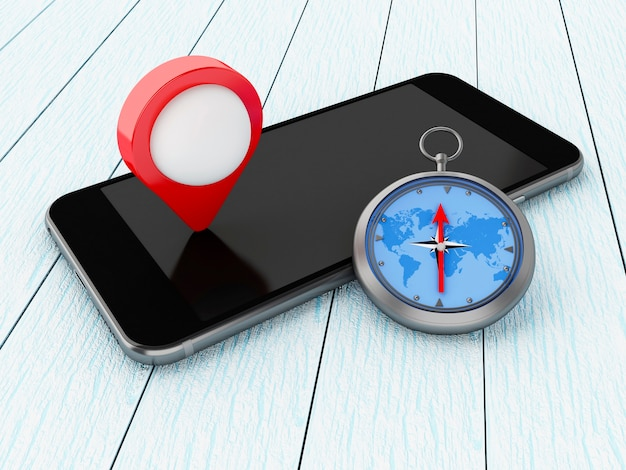 Smartphone 3d com ponteiro do mapa e bússola.