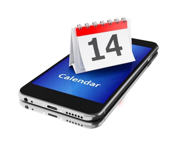 Smartphone 3d com um calendário e número catorze.