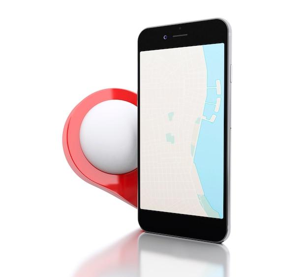 Smartphone 3d com um mapa e um ponteiro do mapa vermelho.