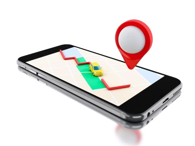 Smartphone 3d com um mapa e um ponteiro vermelho.
