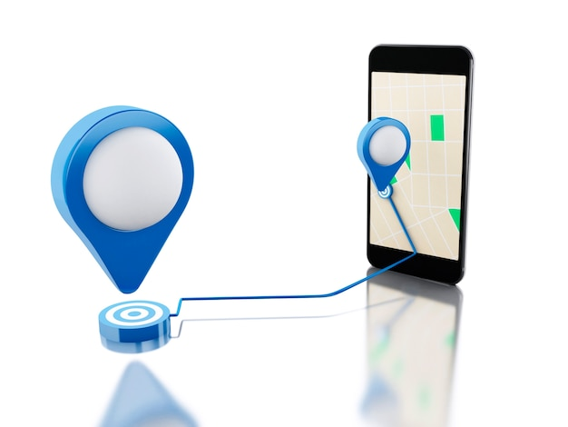 Smartphone 3d com um mapa, ponteiro azul e rota planejada na tela.