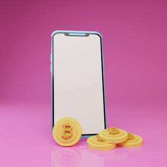 Smartphone 3d com uma pilha de bitcoins na frente em fundo rosa