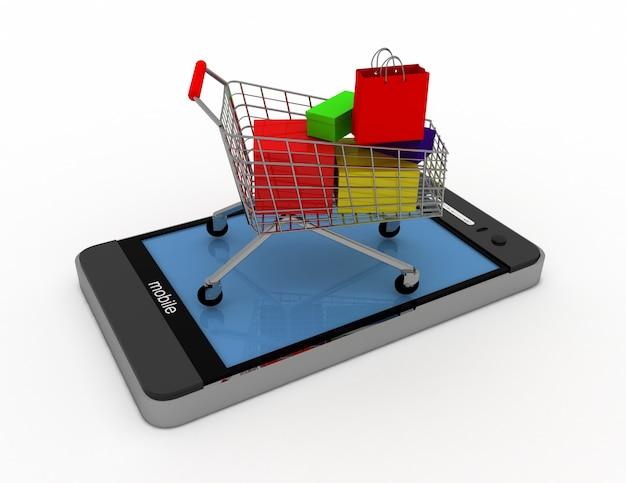 Smartphone 3d e carrinho. conceito de compras online