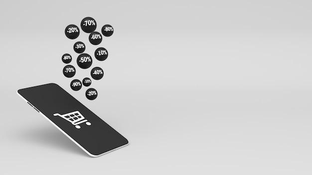 Smartphone 3d e flying black spheres com porcentagem de desconto