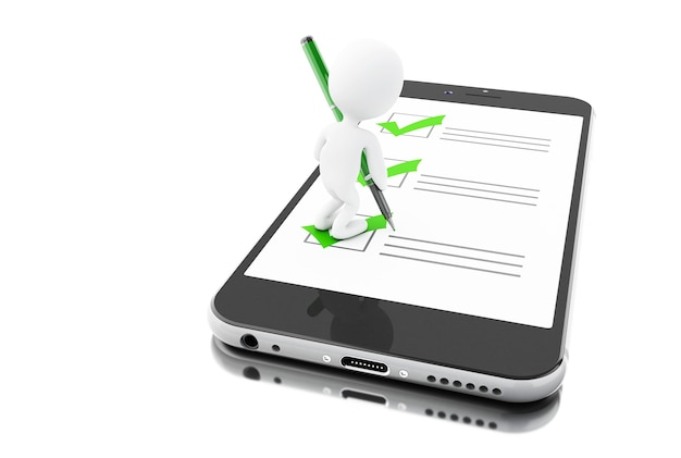 Smartphone 3d e povos brancos com marcador e lista de verificação. questionário on-line.